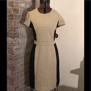 J. Crew tan and black wool dress
